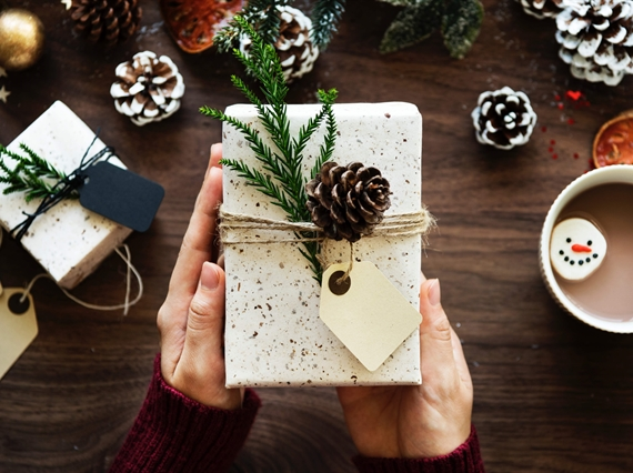 Gift wrapped with pinecone